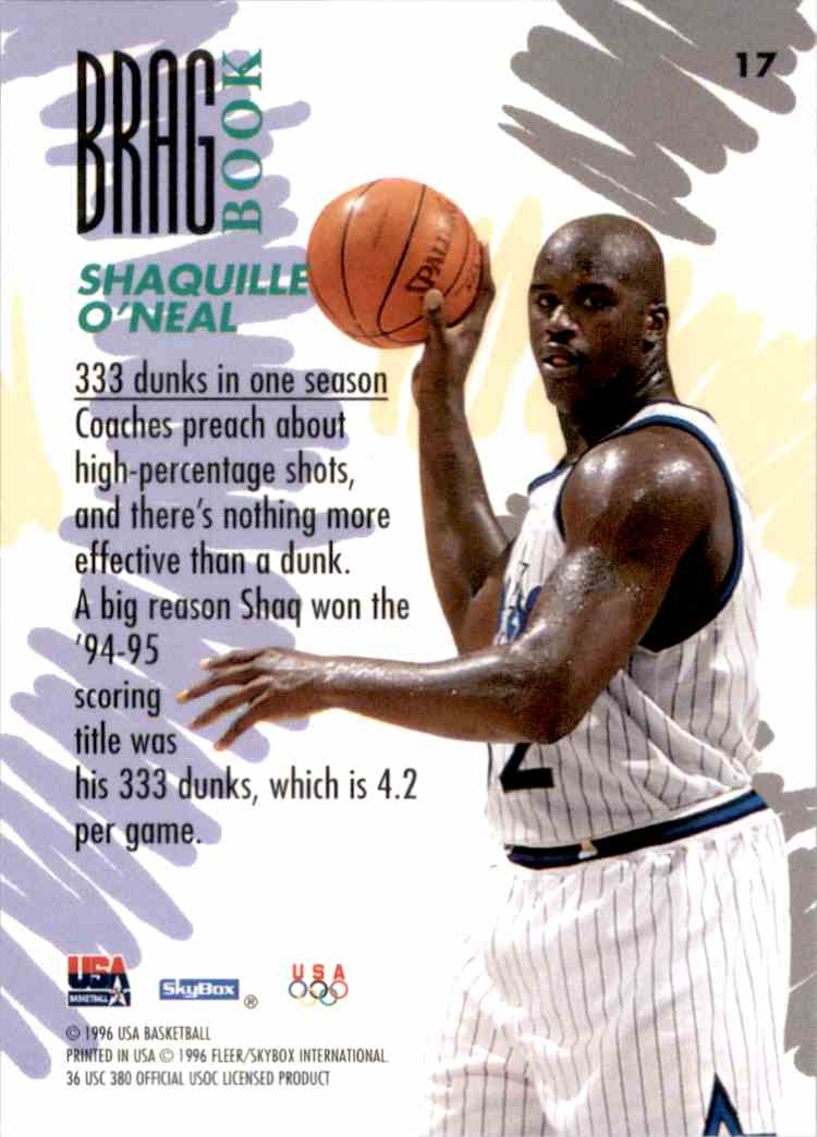 1996-97 SkyBox USA Shaquille O'Neal #17 card back image