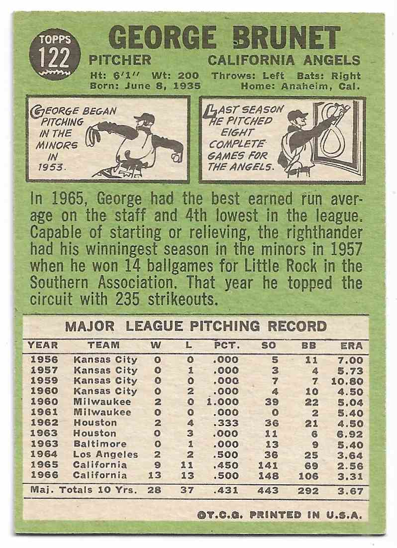 1967 Topps George Brunet #122 card back image