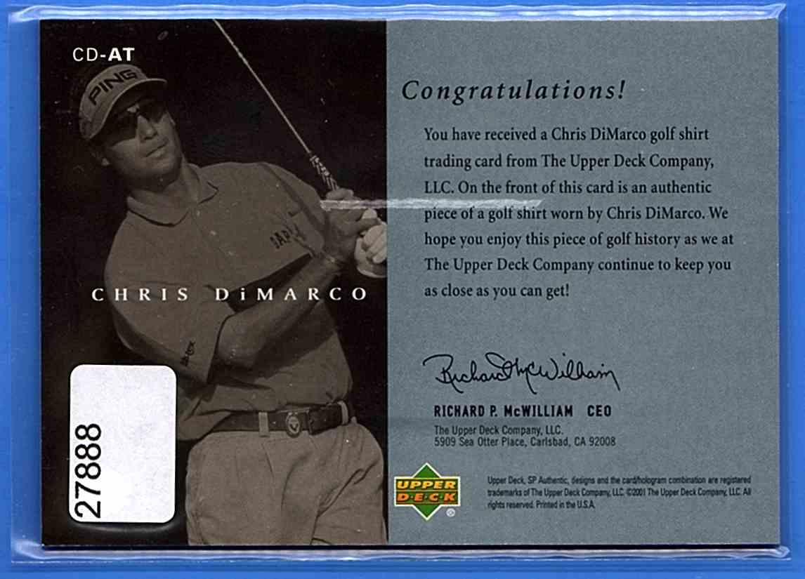 2001 SP Authentic Preview Authentic Threads Chris DiMarco #CD-AT card back image