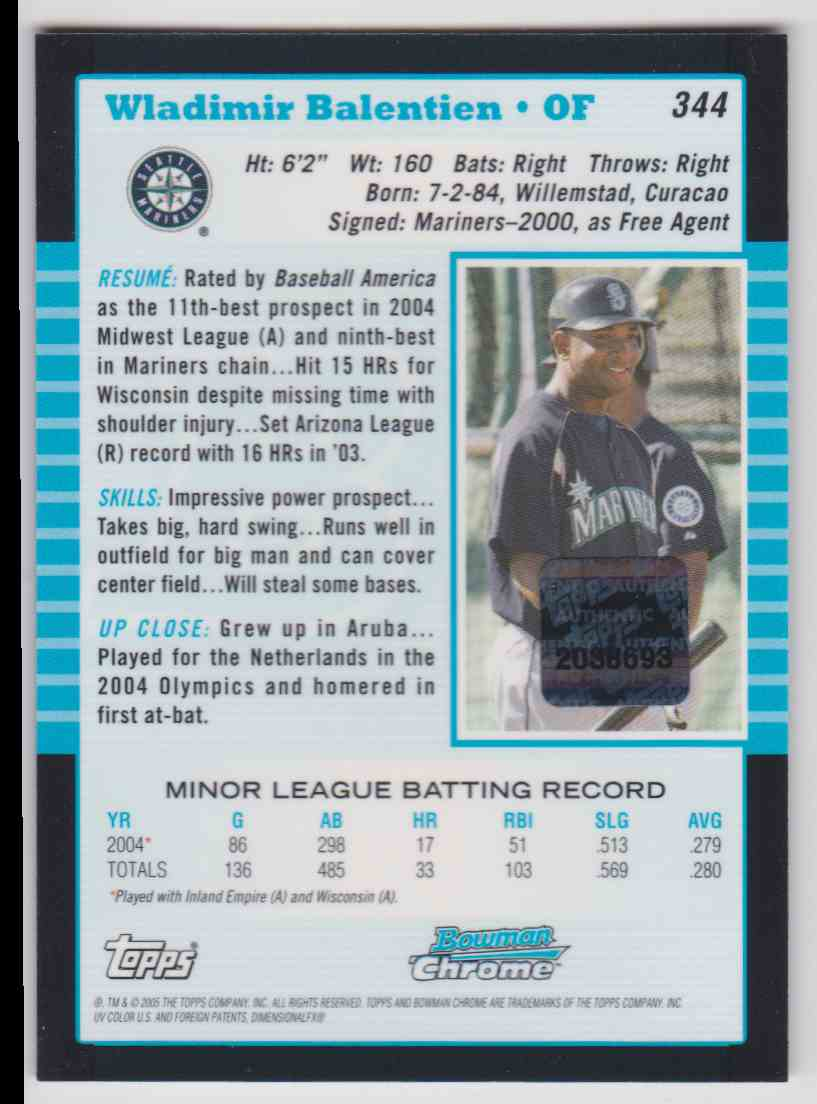 2005 Bowman Chrome Autographs Wladimir Balentien #344 card back image