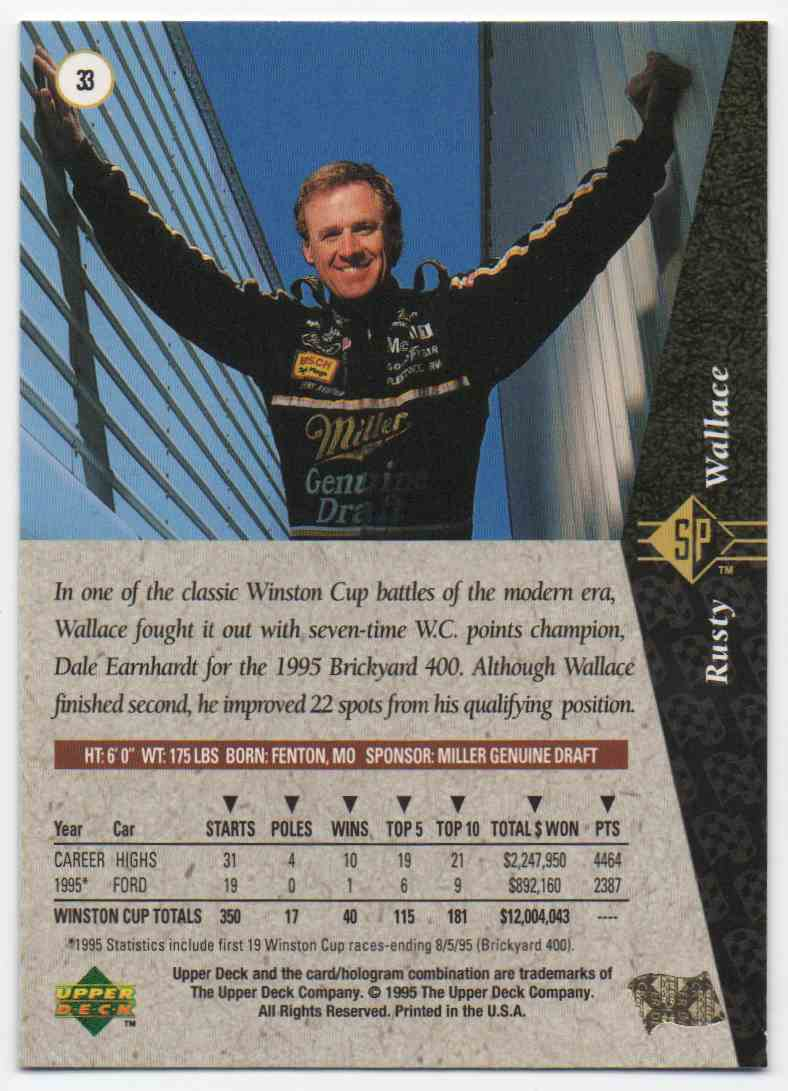 1995 SP Rusty Wallace #33 card back image