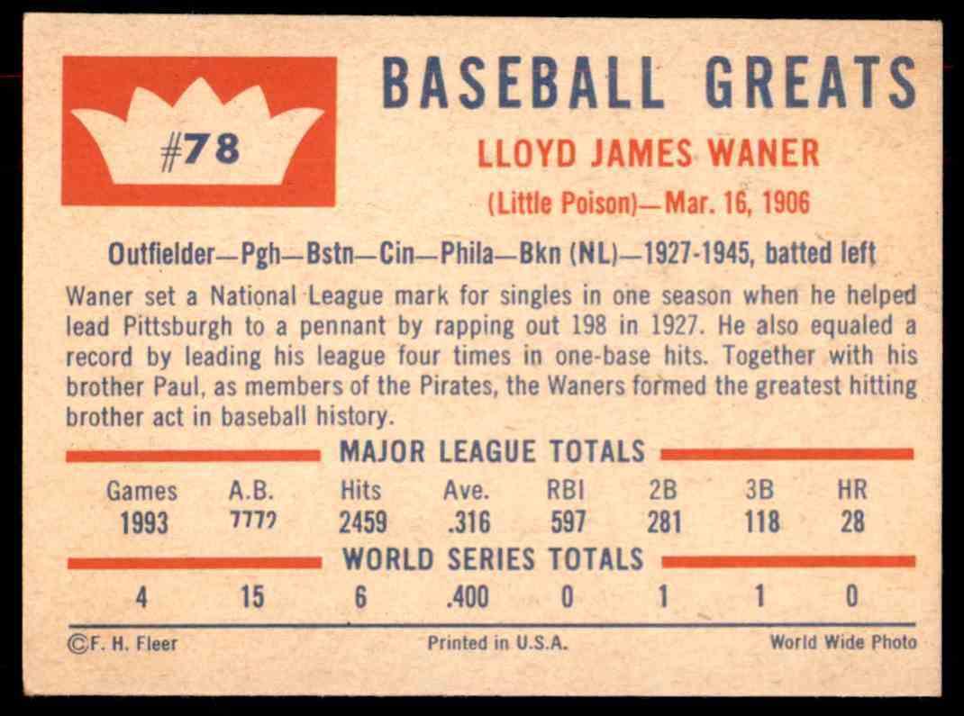 1960 Fleer Baseball Greats Lloyd Waner 78 On Kronozio