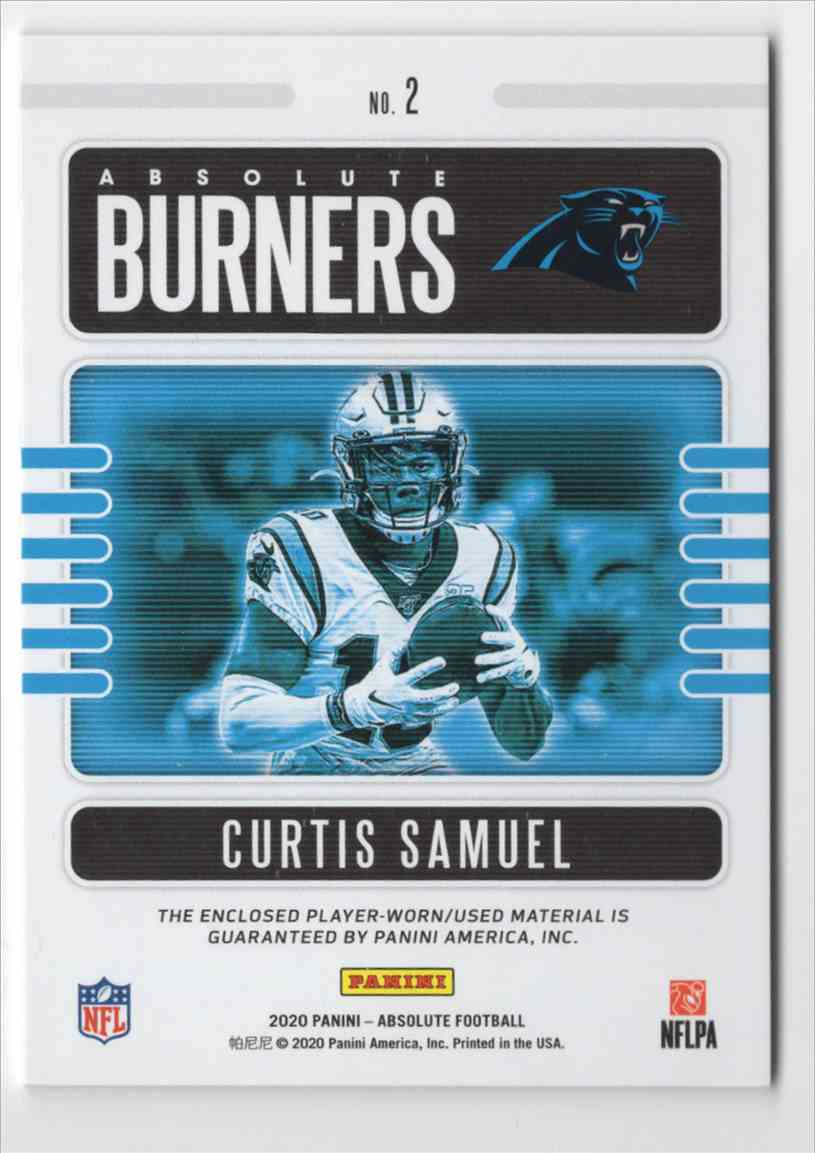 2020 Absolute Absolute Burners Jerseys Curtis Samuel #2 card back image