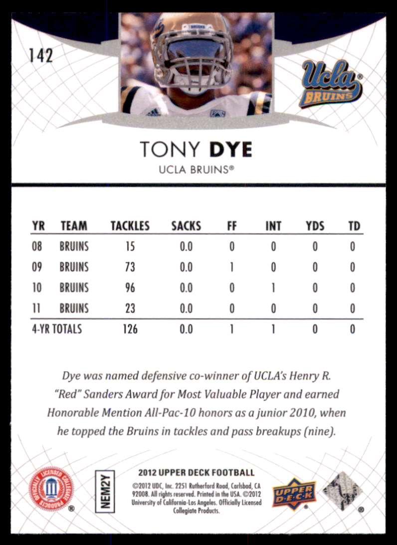 2012 Upper Deck Tony Dye #142 card back image