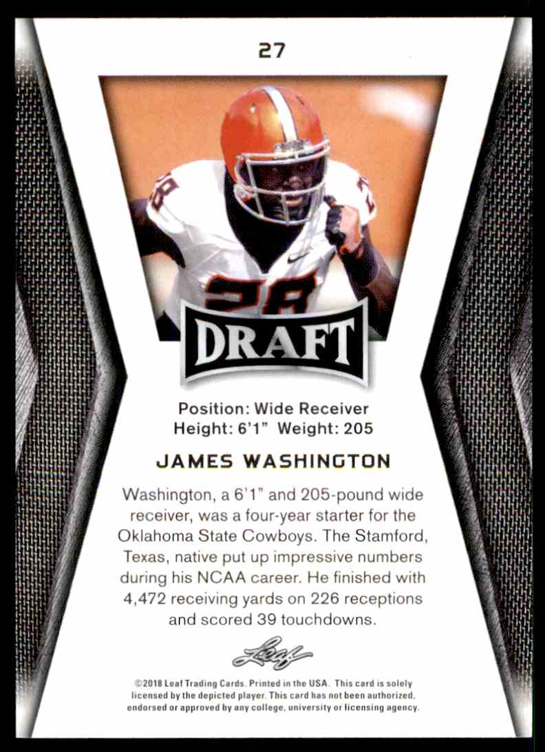 2018 Leaf Draft James Washington #27 card back image