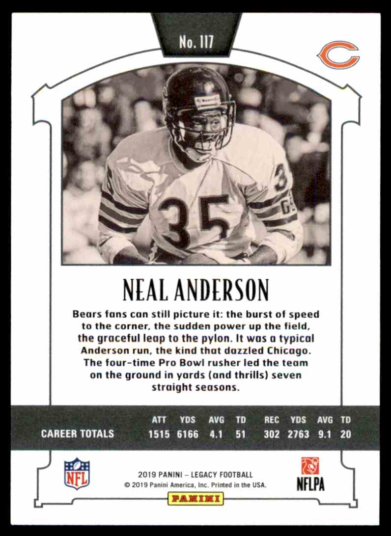 2019 PANINI LEGACY LEGENDS NEAL ANDERSON CHICAGO BEARS