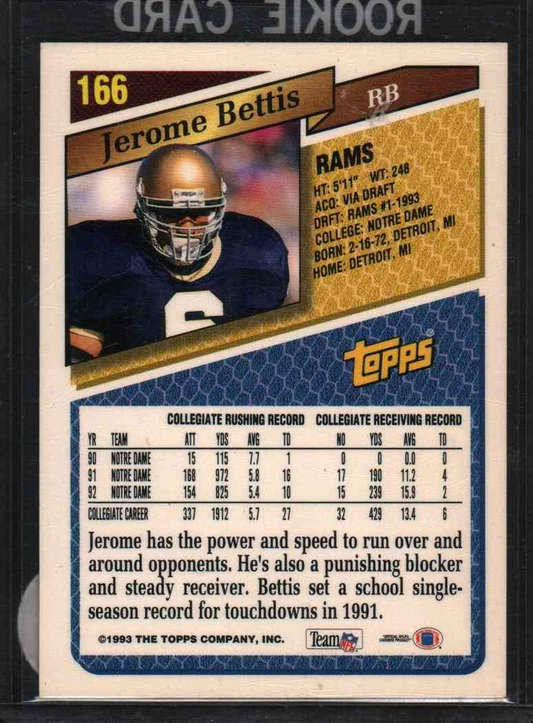 1993 Topps Draft Pick Jerome Bettis 166 On Kronozio