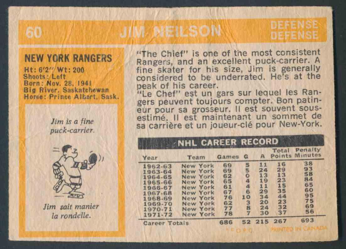 1972-73 O-Pee-Chee Jim Neilson card back image