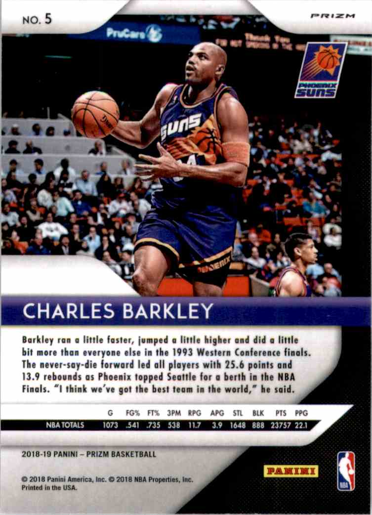 2018-19 Panini Prizm Prizms Red White And Blue Charles Barkley #5 card back image
