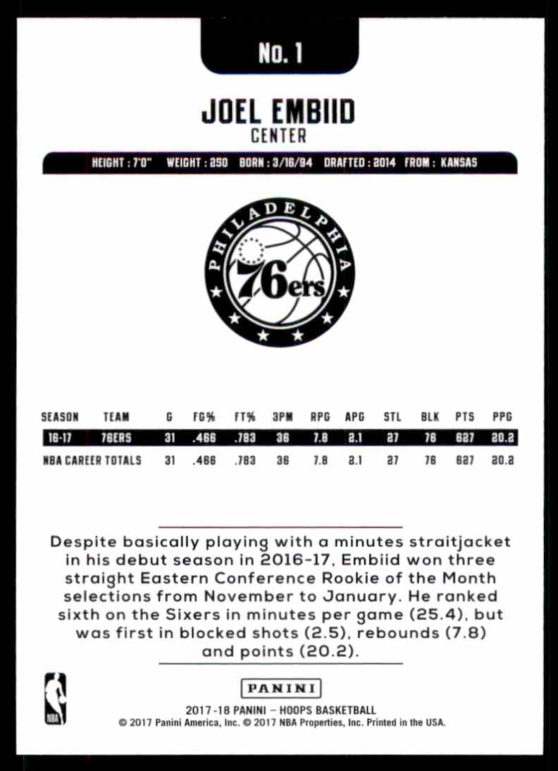 2017-18 Hoops Joel Embiid #1 card back image