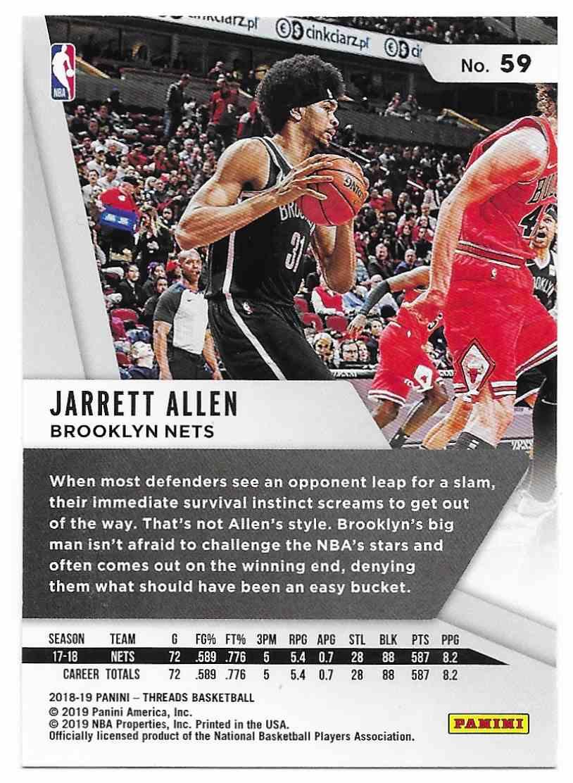2018-19 Panini Threads Jarrett Allen #59 card back image