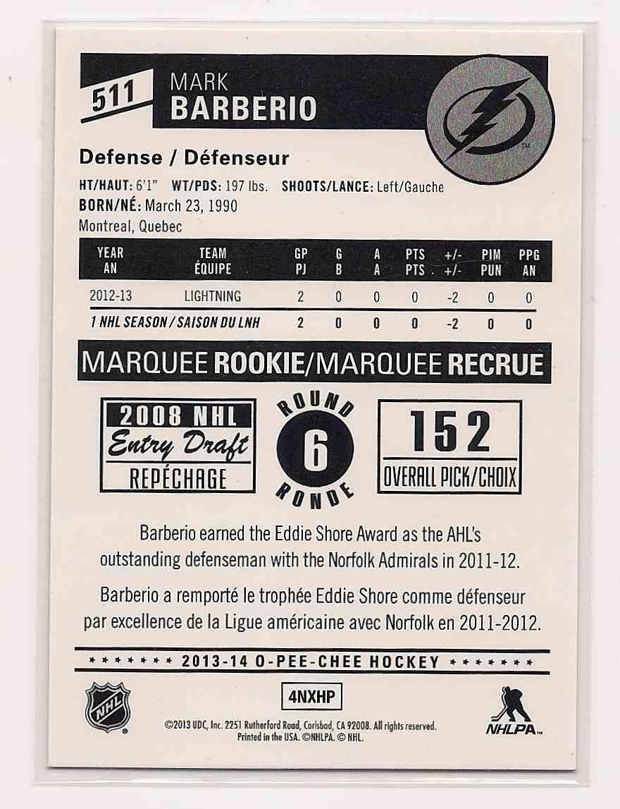 2013-14 O-Pee-Chee Rainbow Mark Barberio #511 card back image