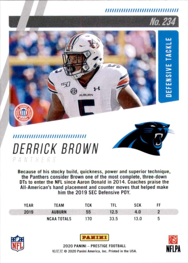 2020 Prestige Derrick Brown #234 card back image