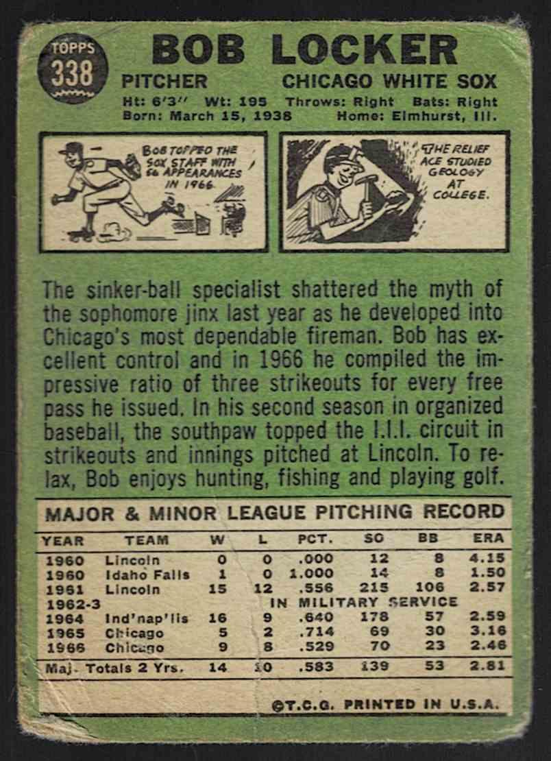 1967 Topps Bob Locker #338 card back image