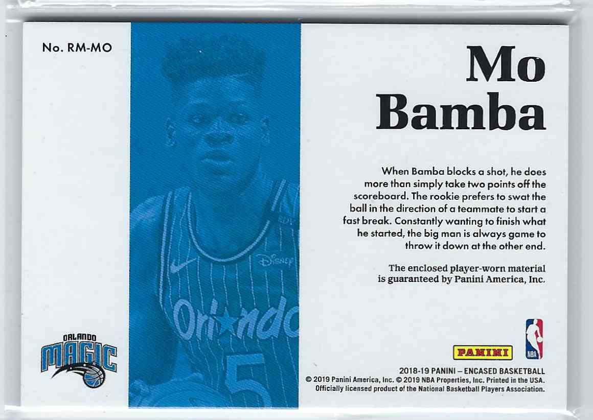 2019-20 Panini Encased Rookie Materials Mo Bamba #RM-MO card back image