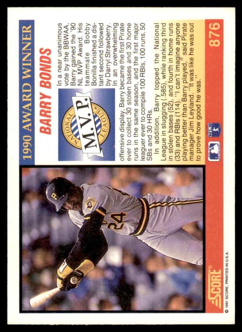 1991 Score MVP Barry Bonds #876 card back image