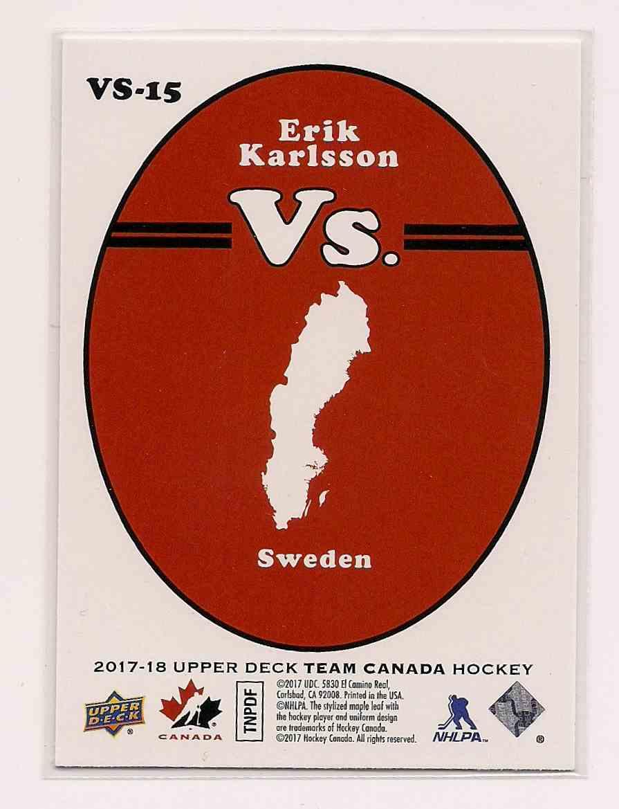 2017-18 Upper Deck Team Canada Vs. Erik Karlsson #VS-15 card back image