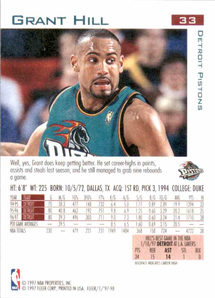 1997-98 Fleer Grant Hill #33 card back image