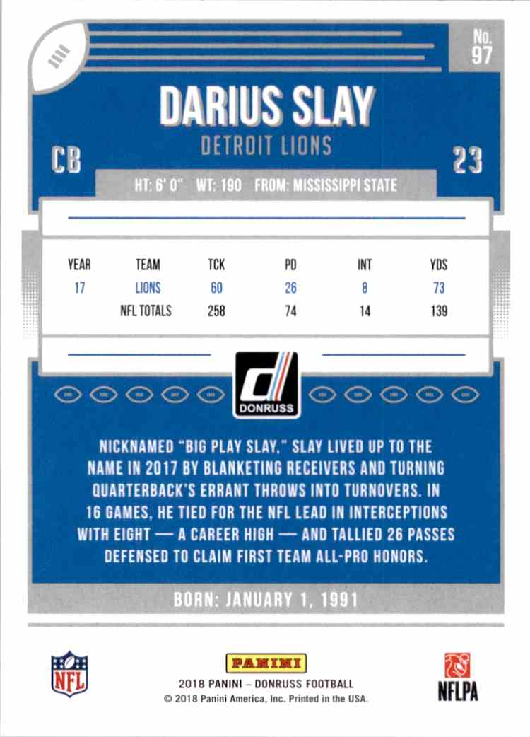 2018 Donruss Darius Slay #97 card back image