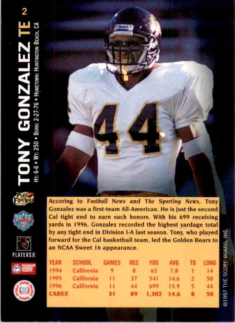 1997 Score Board NFL Rookies Tony Gonzalez #2 card back image