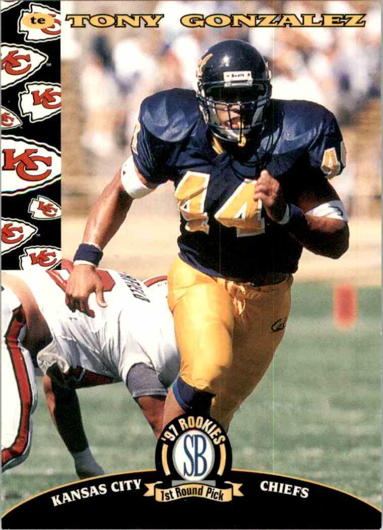1997 Score Board NFL Rookies Tony Gonzalez #2 card front image