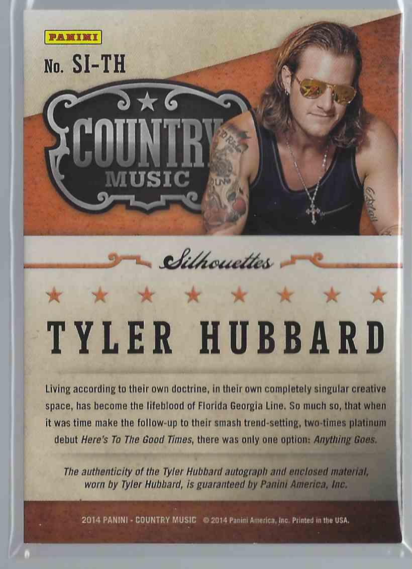 2015 Country Music Silhouette Signature Materials Tyler Hubbard #SI-TH card back image