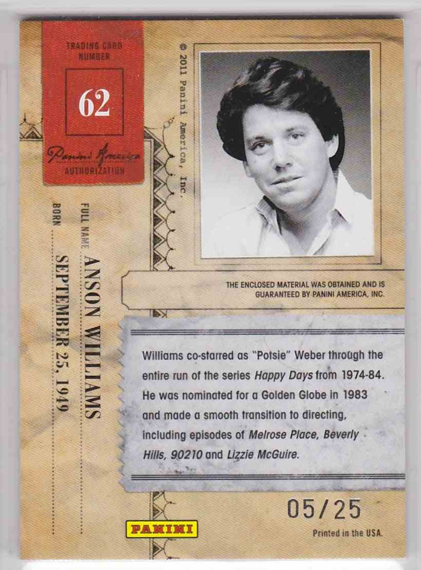 2011 Panini Americana Private Stars Materials Anson Williams #62 card back image