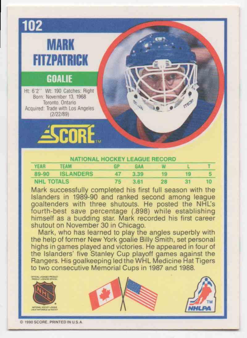 1990-91 Score Mark Fitzpatrick #102 card back image