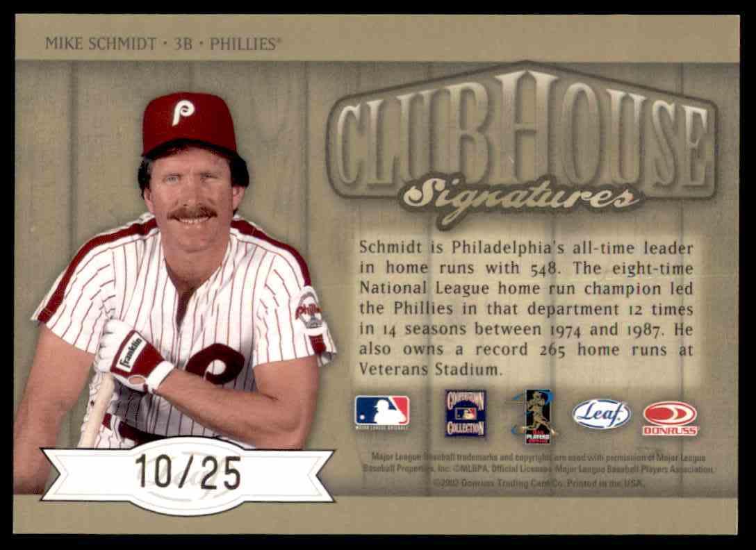 2003 Leaf Club Signatures Mike Schmidt Gold card back image