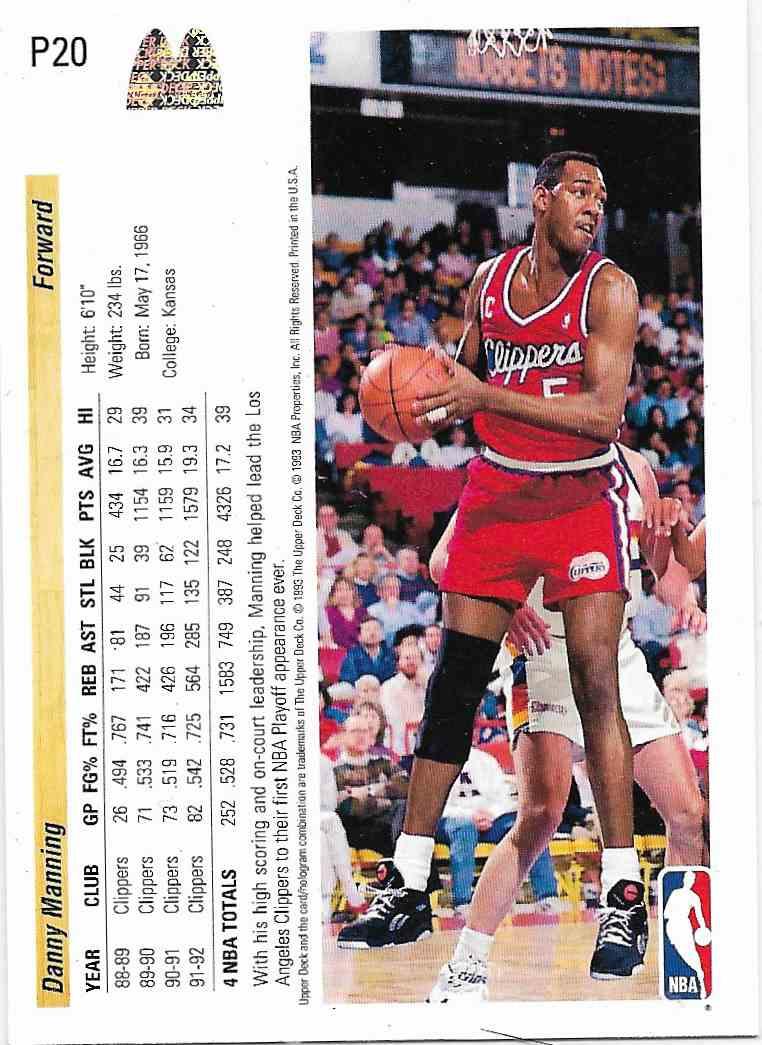 1993-94 Upper Deck McDonald Danny Manning #P20 card back image