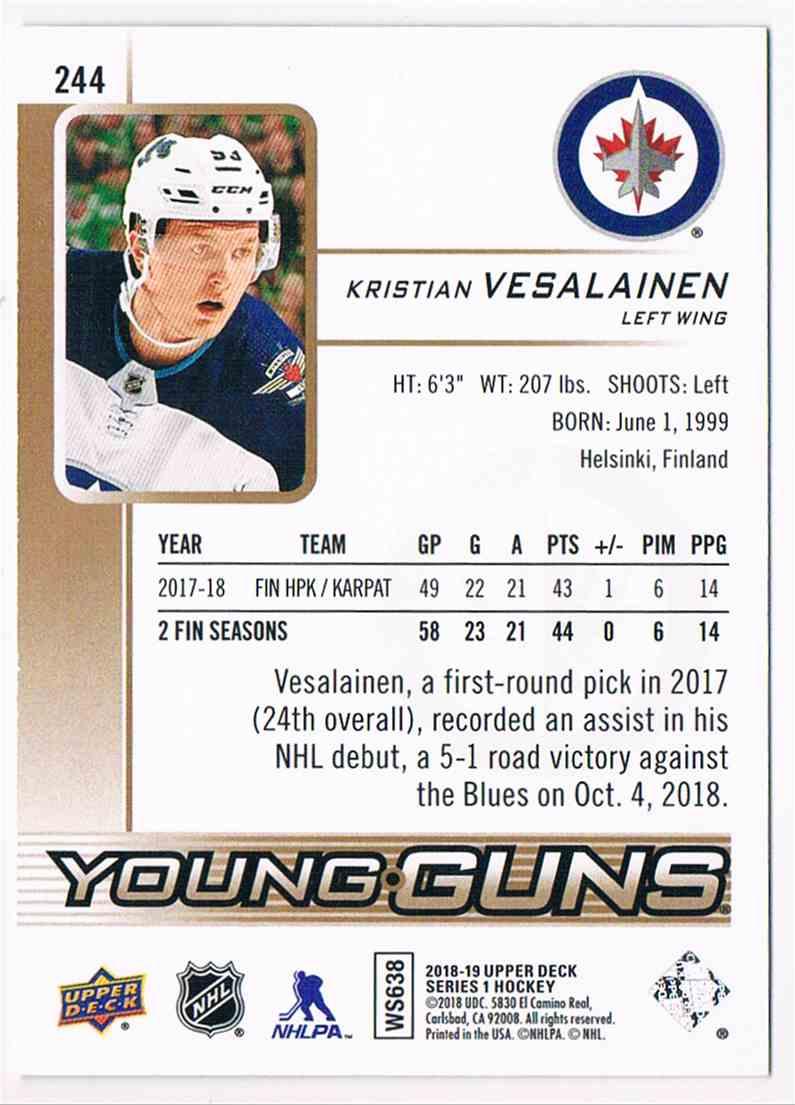 2018-19 Upper Deck Young Guns High Gloss Kristian Vesalainen #244 card back image
