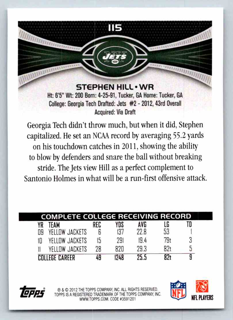 2012 Topps Stephen Hill #115 card back image