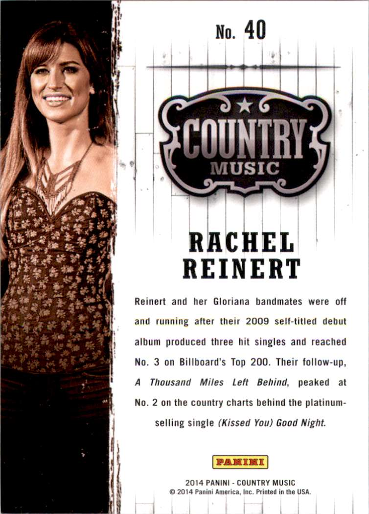 2015 Country Music Purple Rachel Reinert #40 card back image