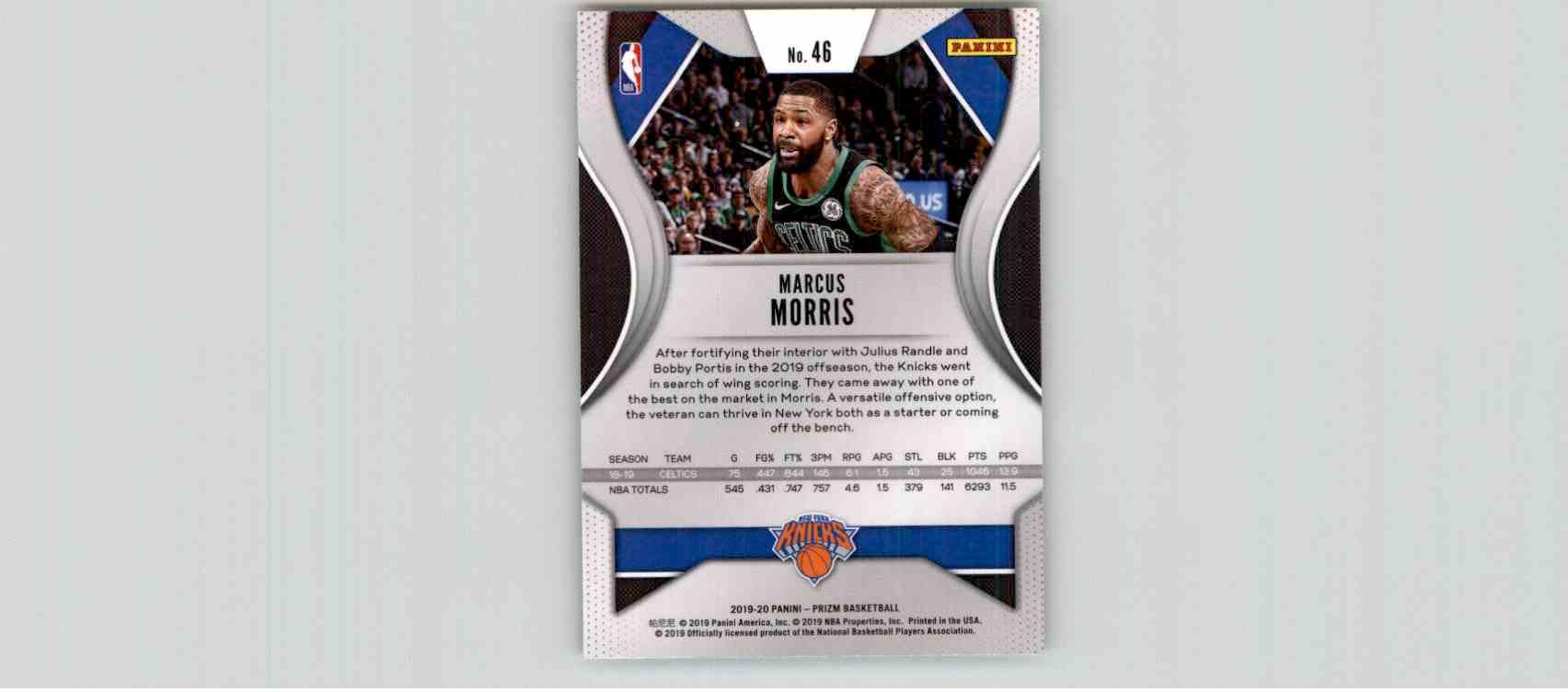 2019-20 Panini Prizm Basketball Prizm Marcus Morris #46 card back image