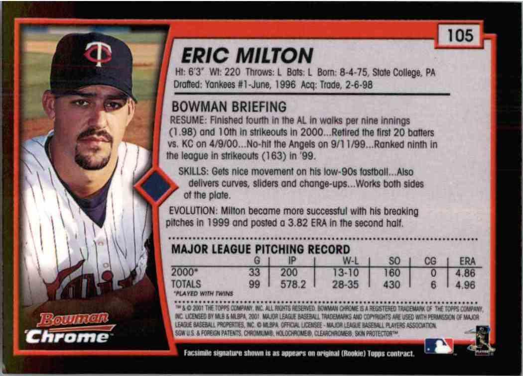 2001 Bowman Chrome Eric Milton 105 On Kronozio