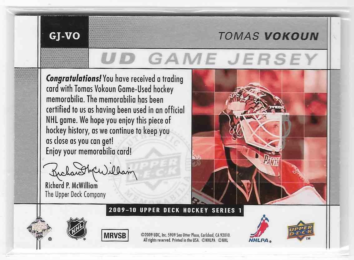 2009-10 Upper Deck Tomas Vokoun #GJ-VO card back image