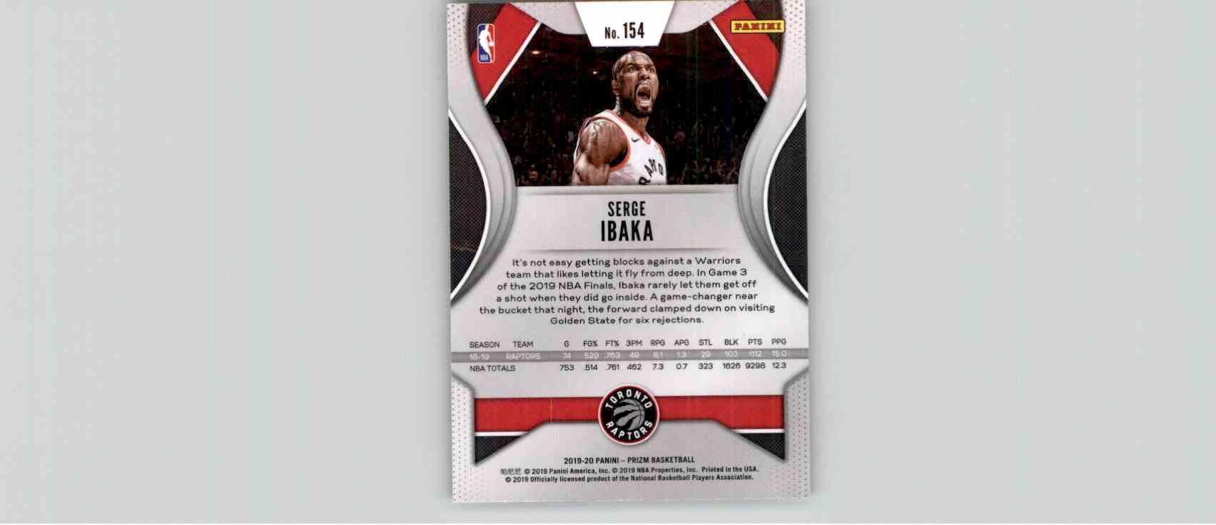 2019-20 Panini Prizm Basketball Prizm Serge Ibaka #154 card back image