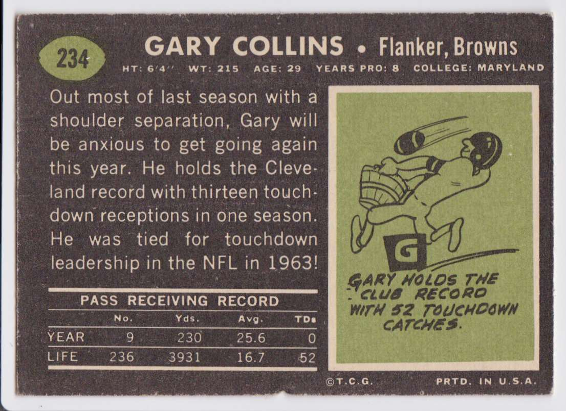 1969 Topps Gary Collins #234 card back image