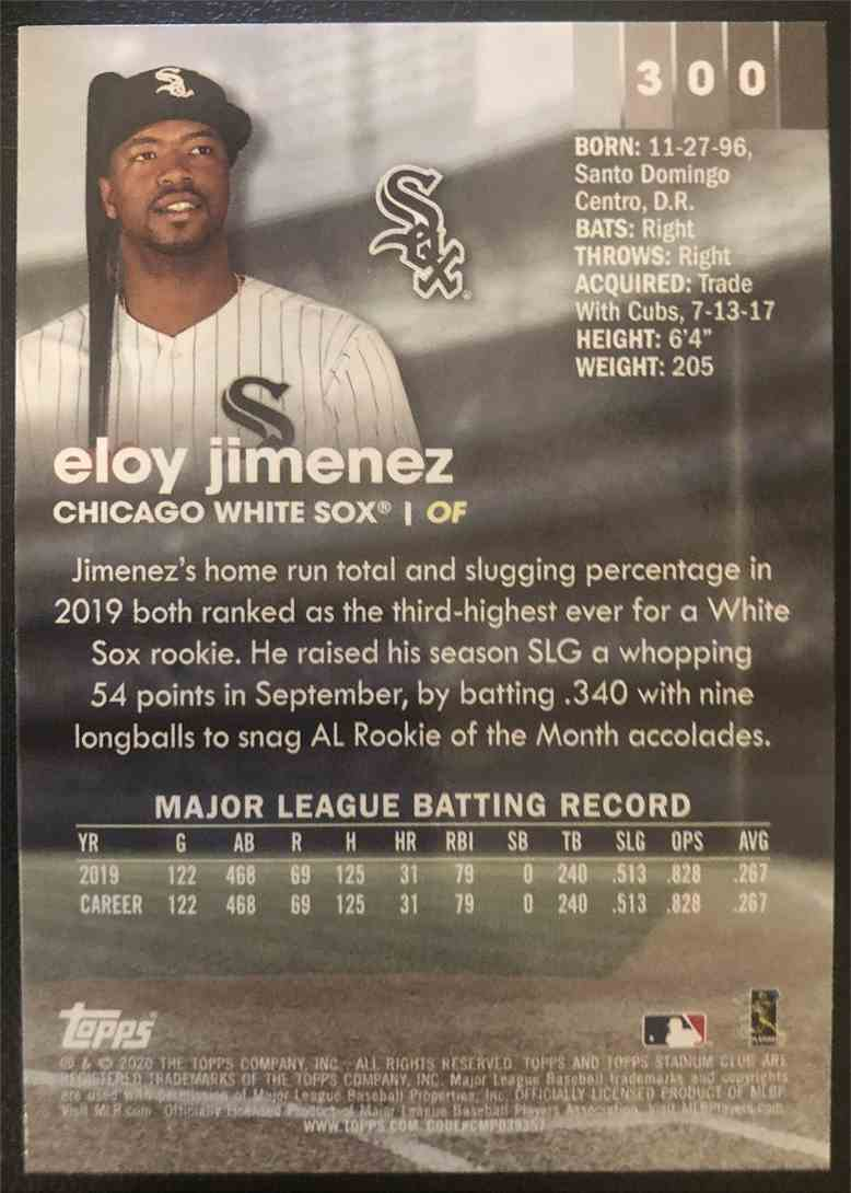 2020 Topps Stadium Club Eloy Jimenez #300 card back image