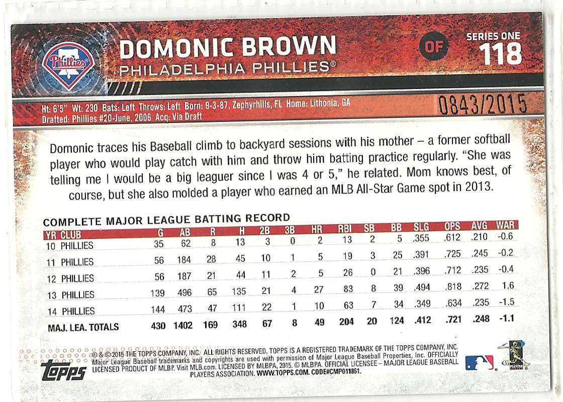 2015 Topps Gold Domonic Brown #118 card back image