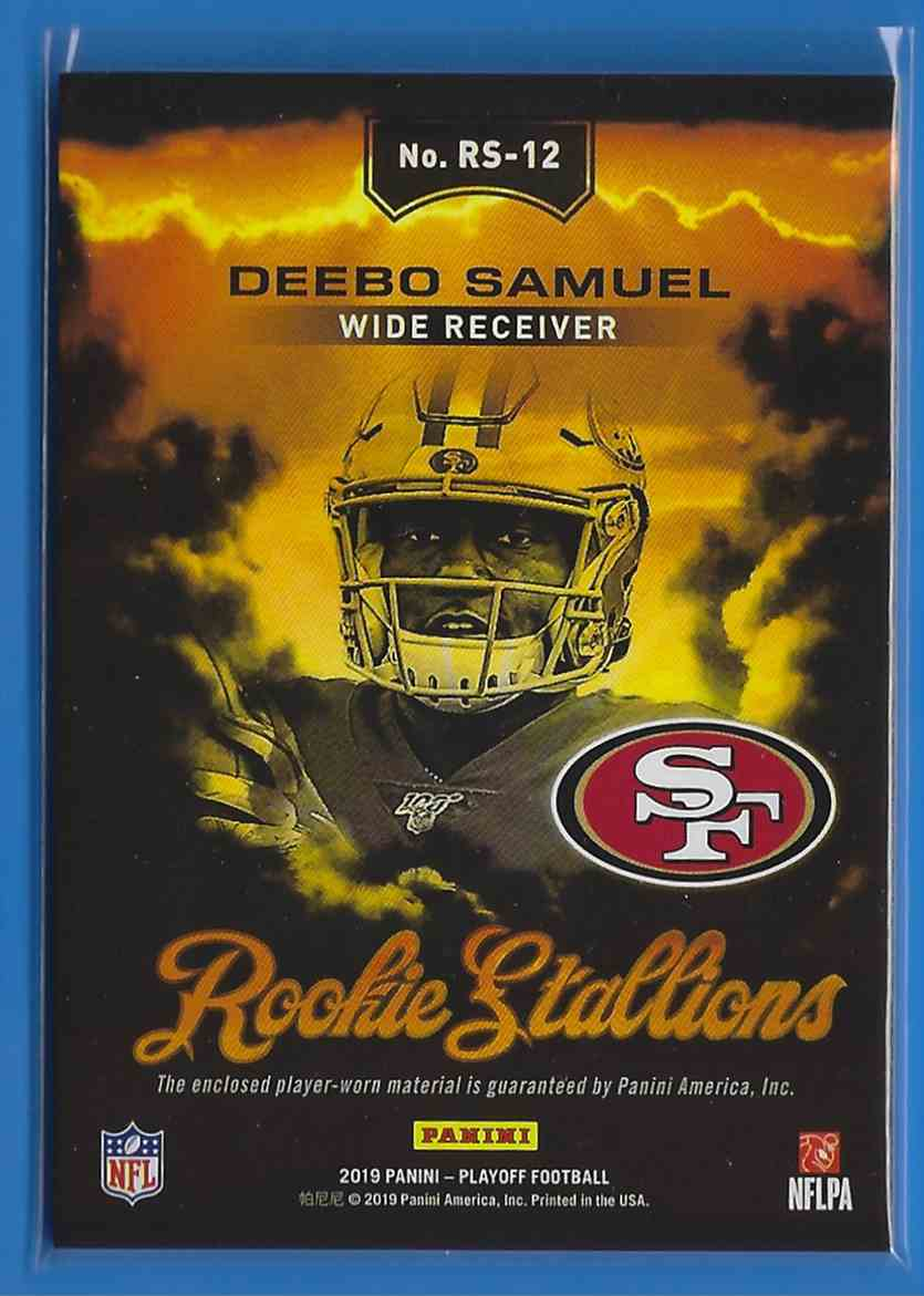 2019 Playoff Rookie Stallions Jerseys Deebo Samuel #RS-12 card back image