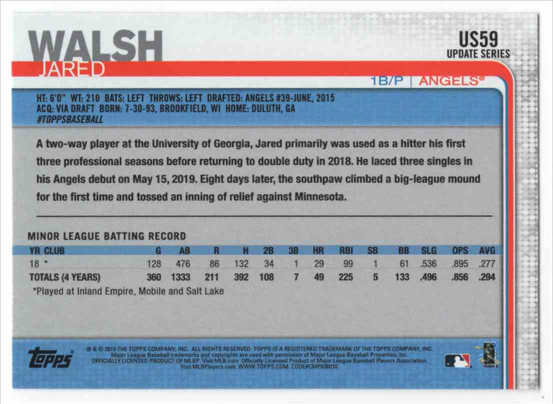 2019 Topps Update 150th Anniversary Jared Walsh #US59 card back image