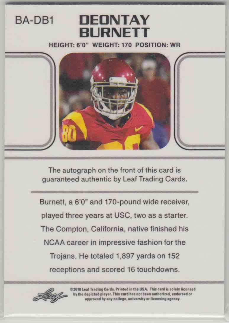 2018 Leaf Ultimate Draft 1990 Leaf Autograph Deontay Burnett #BA-DB1 card back image