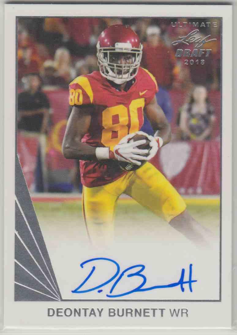 2018 Leaf Ultimate Draft 1990 Leaf Autograph Deontay Burnett #BA-DB1 card front image