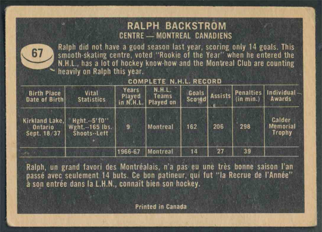 1967-68 Topps Ralph Backstrom - VgEx #67 card back image