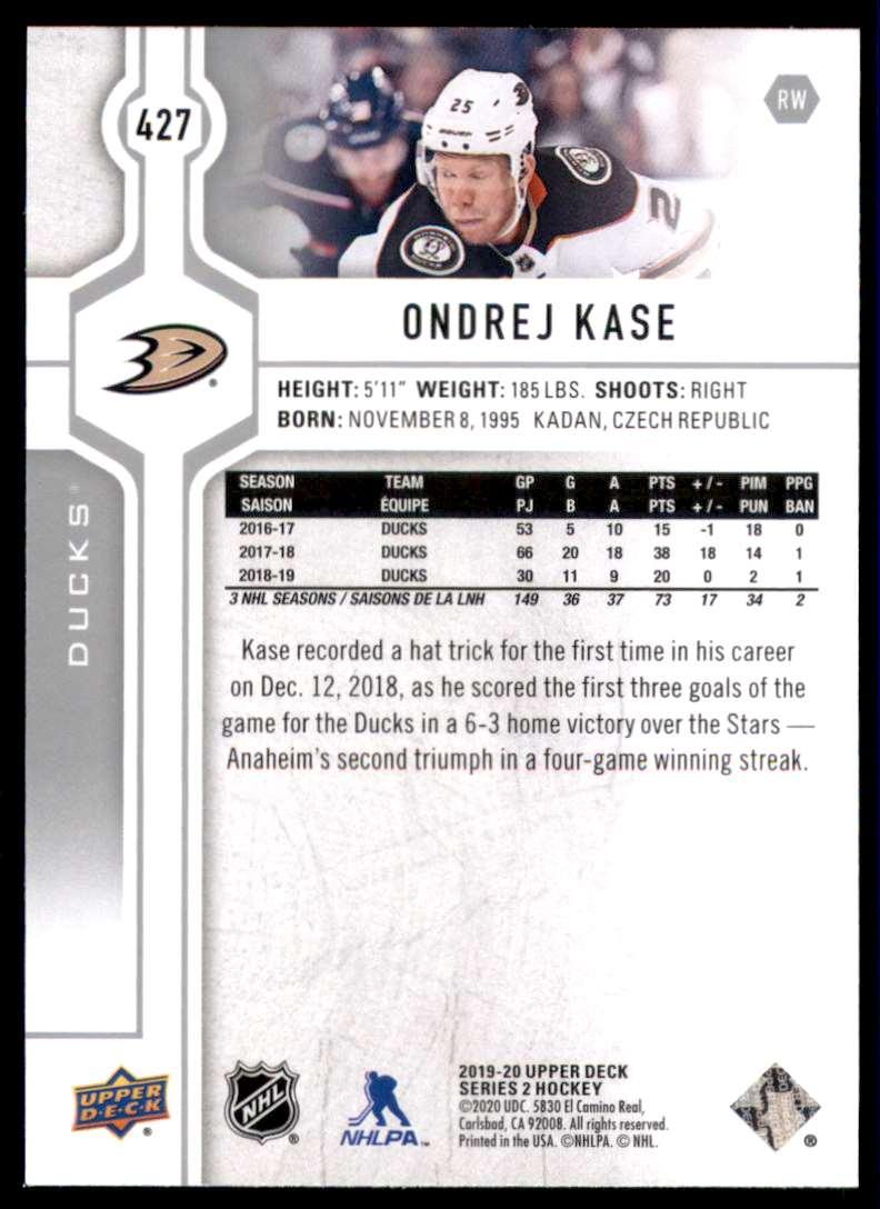 2019-20 Upper Deck Ondrej Kase #427 card back image