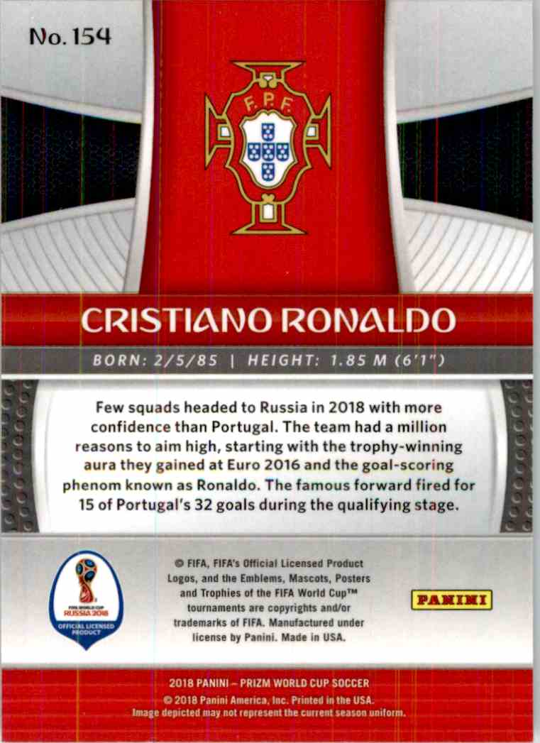 2018 Panini Prizm World Cup Cristiano Ronaldo #154 card back image