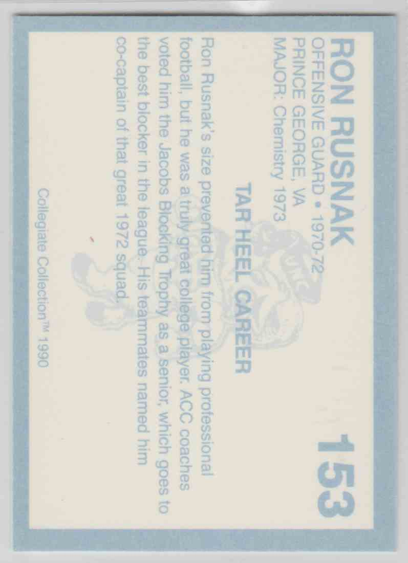 Ron Rusnak Football Card North Carolina 1990 Collegiate Collection #153