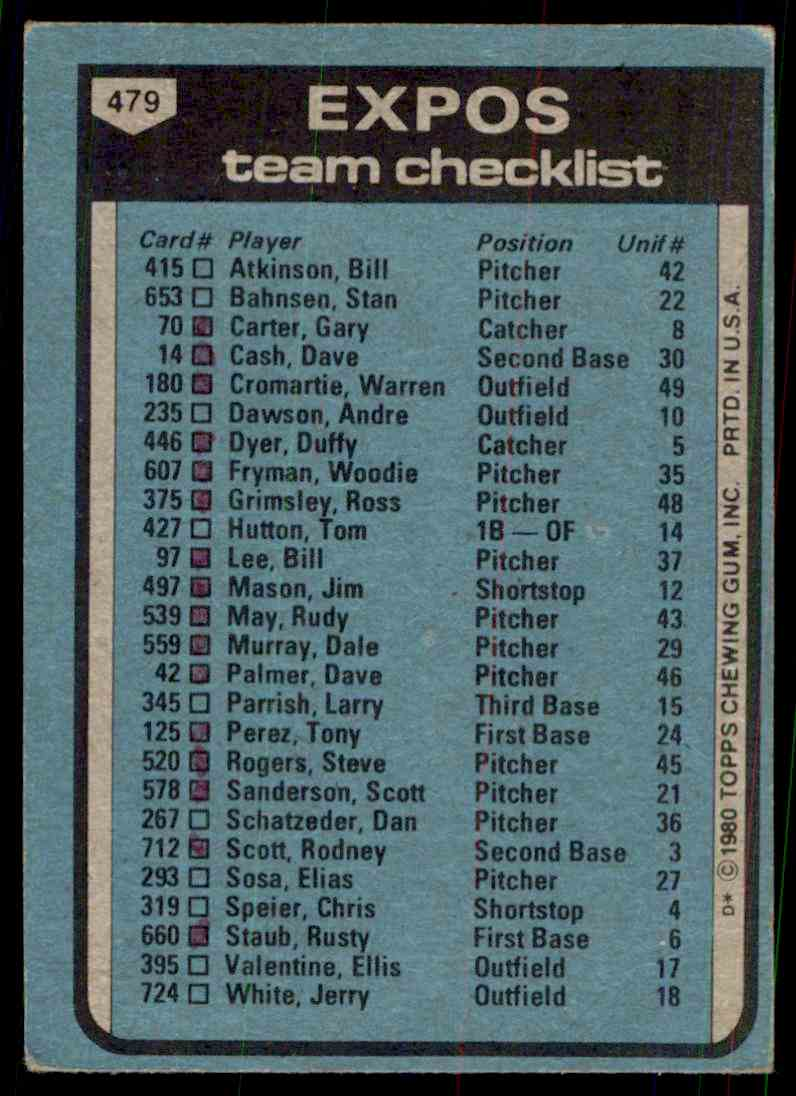 1980 Topps Expos #479 card back image