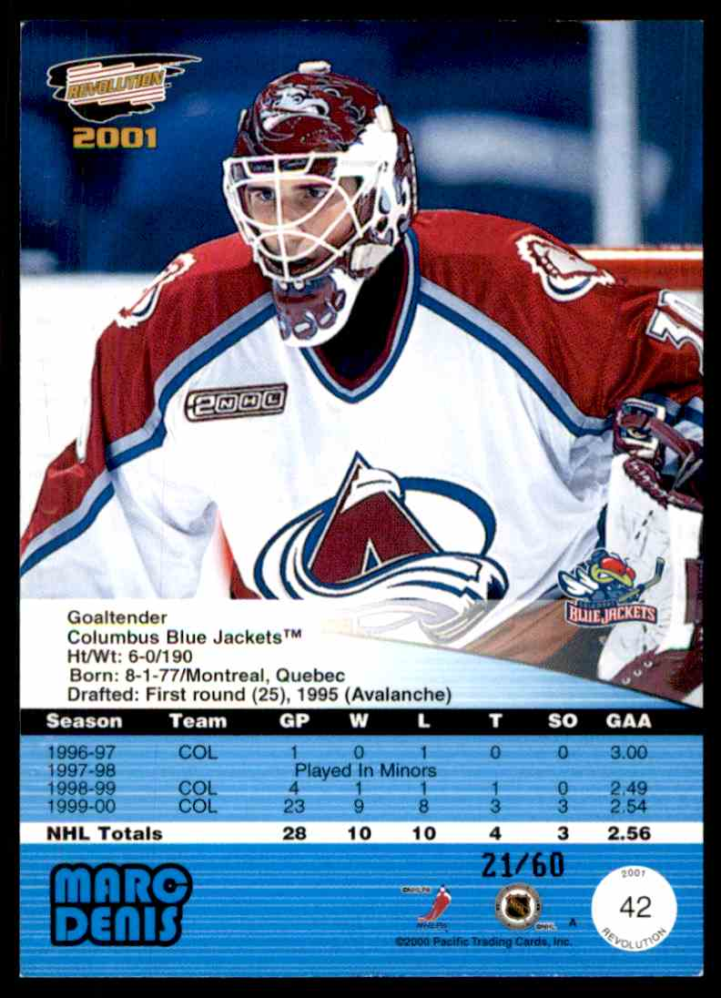 2000-01 Revolution Premiere Date Marc Denis #42 card back image